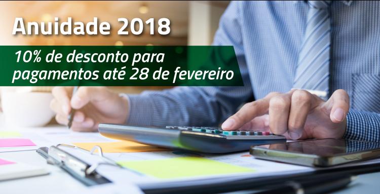Anuidade tem 10% de desconto até 28 de fevereiro